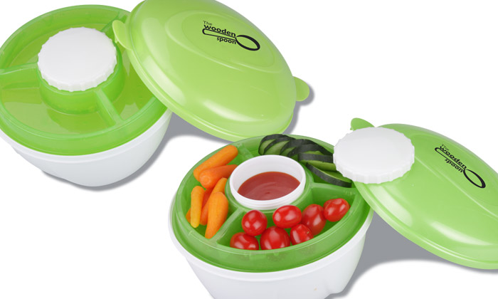 Freezable Lid Salad Bowl with Compartments