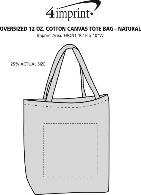 9eb1f8fb603 Oversized 12 oz. Cotton Canvas Tote Bag - Natural