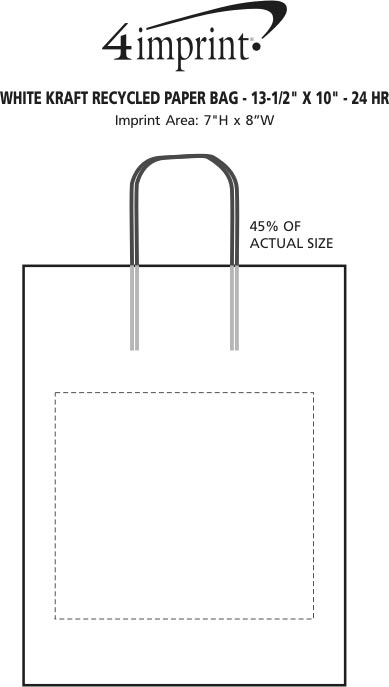 white kraft recycled paper shopping bag x hr imprint