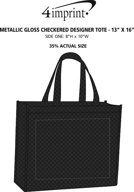 182564389688 Metallic Gloss Checkered Designer Tote - 13 inches x 16 inches Main Image ·  360° view · View Imprint