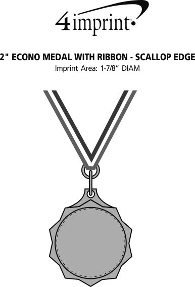 2 econo medal with ribbon scallop edge 127297 se