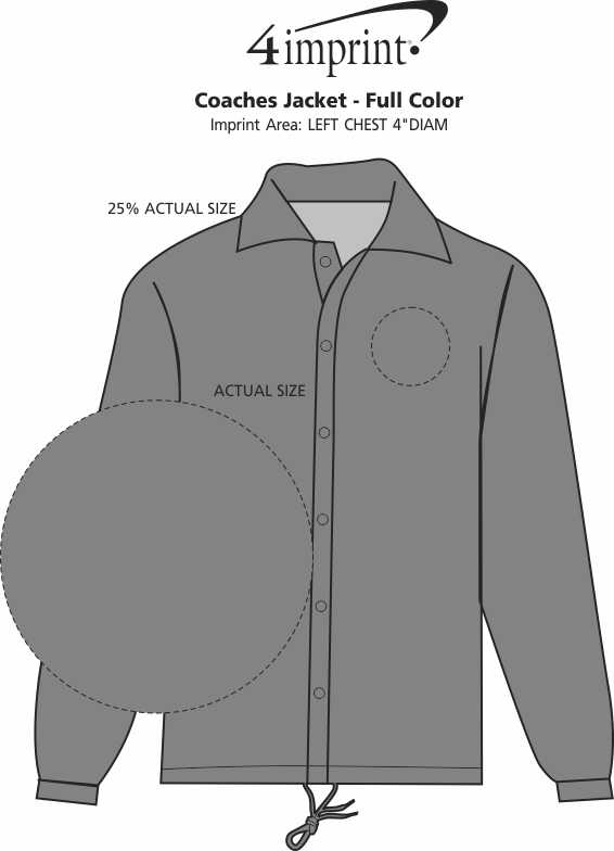 1640b770508e1 ... Coaches Jacket - Full Color. 360° view · View Imprint