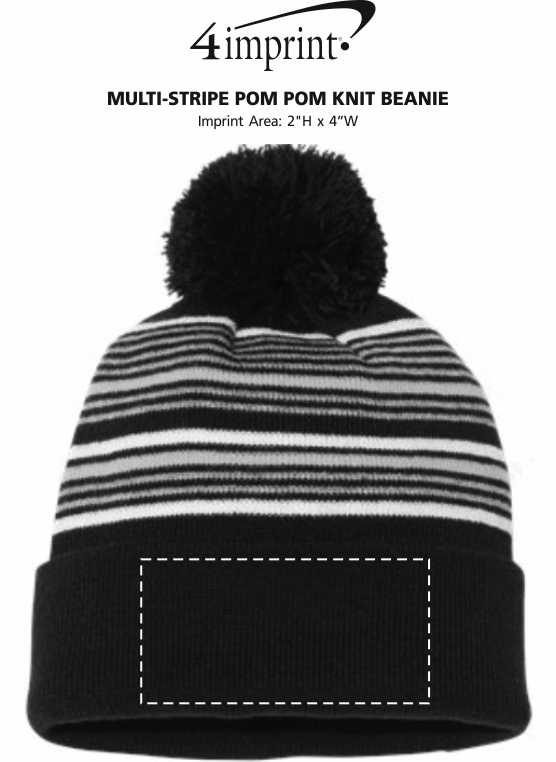 detailed look c805e 94496 4imprint.com  Multi-Stripe Pom Pom Knit Beanie 149438