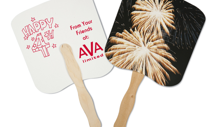 imprinted hand fan with fireworks graphics