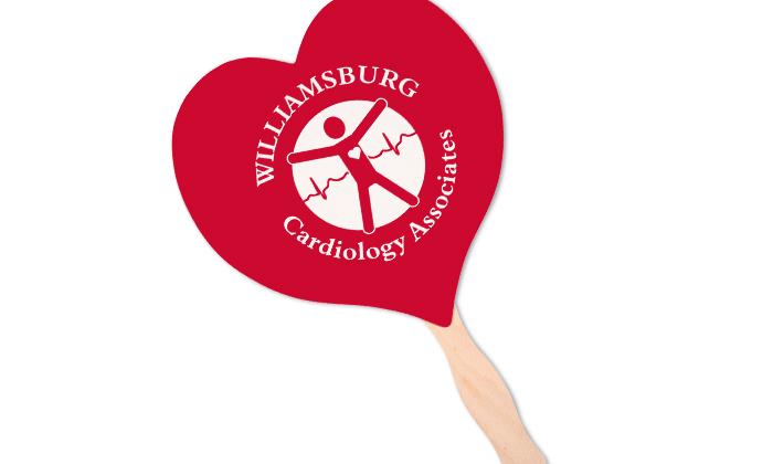 A red heart-shaped hand fan