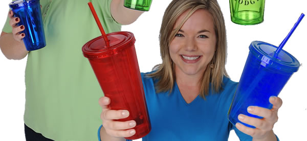 Coloured Double Wall Tumbler w/Straw - 16 oz.