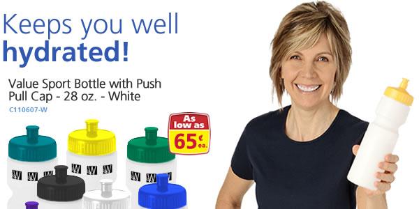 Value Sport Bottle w/Push Pull Cap - 28 oz. - White