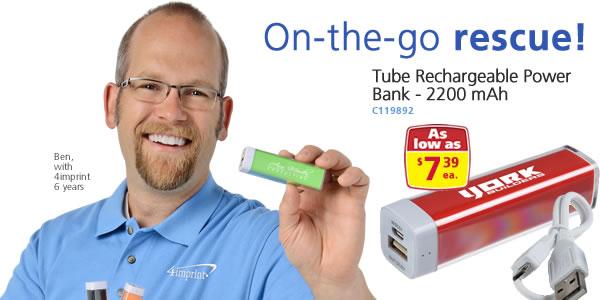 Tube Rechargeable Power Bank - 2200 mAh