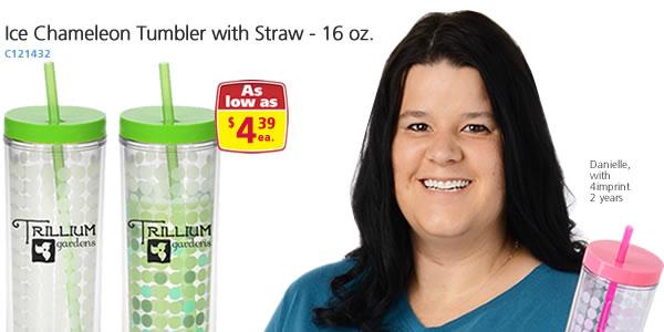 Ice Chameleon Tumbler with Straw - 16 oz.