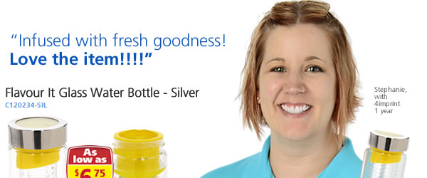 Flavour It Glass Water Bottle - Silver