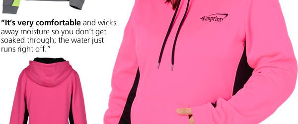 Performance Fleece Colorblock Hoodie - Ladies' (pink/black in XL)