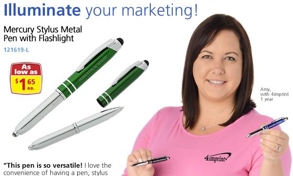 Mercury Stylus Metal Pen with Flashlight