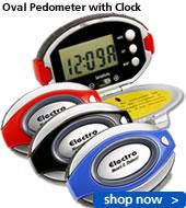 Oval Pedometer w/Clock