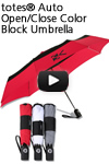 totes Auto Open/Close Color Block Umbrella