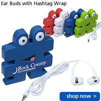 Ear Buds with Hashtag Wrap