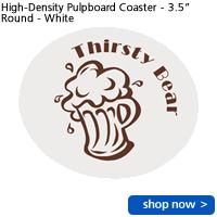 """High-Density Pulpboard Coaster - 3.5"""" Round - White"""