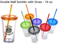 Double Wall Tumbler with Straw - 16 oz.