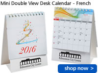 Mini Double View Desk Calendar - French