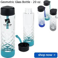 Geometric Glass Bottle - 20 oz.