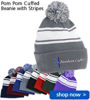 Pom Pom Cuffed Beanie with Stripes