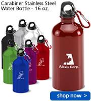 Carabiner Stainless Steel Water Bottle - 16 oz.