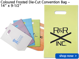 """Coloured Frosted Die-Cut Convention Bag – 14"""" x 9-1/2"""""""