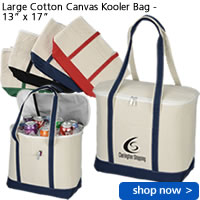 "Large Cotton Canvas Kooler Bag - 13"" x 17"""