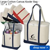 """Large Cotton Canvas Kooler Bag - 13"""" x 17"""""""