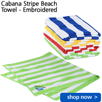 Cabana Stripe Beach Towel - Embroidered