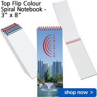"Top Flip Colour Spiral Notebook - 3"" x 8"""
