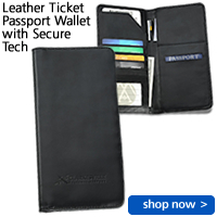 Leather Ticket Passport Wallet with Secure Tech