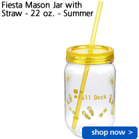 Fiesta Mason Jar with Straw - 22 oz. - Summer