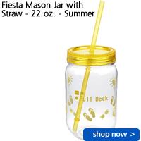 Fiesta Mason Jar with Straw - 22 oz. - Summer