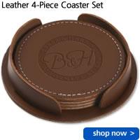 Leather 4-Piece Coaster Set