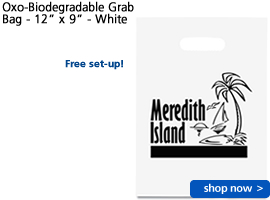 "Oxo-Biodegradable Grab Bag - 12"" x 9"" - White"