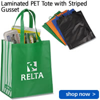 Laminated PET Tote with Striped Gusset