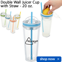 Double Wall Juicer Cup with Straw - 20 oz.