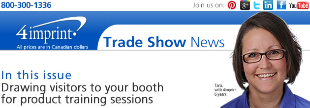 Drawing visitors to your booth for product training sessions